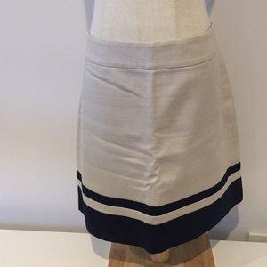 Ann Taylor LOFT beige navy blue winter skirt